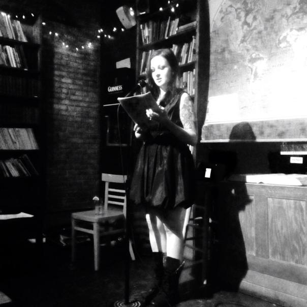 Mila Jaroniec reads from her novel-in-progress. Photo by Alibi Jones.
