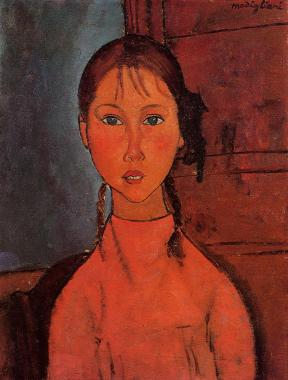 Girl with Pigtails - Amedeo Modigliani, 1918