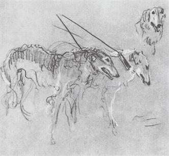 Greyhounds royal hunting - Valentin Serov, 1901