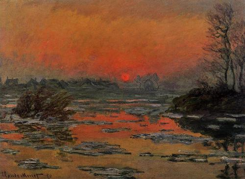 Sunset on the Seine in Winter - Claude Monet, 1880