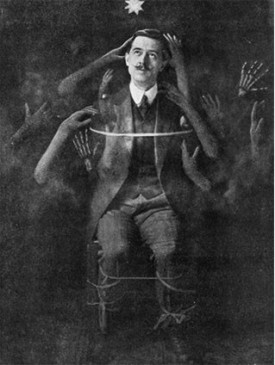 William S. Marriott and his spirit hands, circa 1910