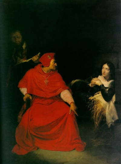 Joan of Arc is interrogated by the Cardinal of Winchester in her prison, 1431 - Paul Delaroche, 1823