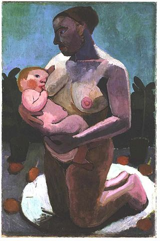 Kneeling breast feeding mother - Paula Modersohn-Becker, circa 1900