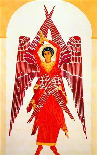Liturgy Six-Winged Seraph - Natalia Goncharova, 1914
