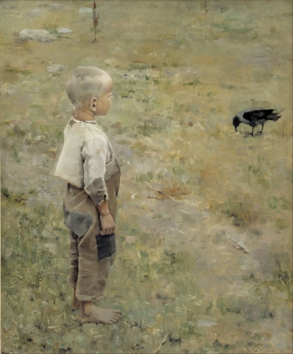 Boy with a Crow - Akseli Gallen-Kallela, 1884
