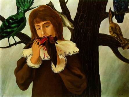 Young girl eating a bird (The pleasure) - Rene Magritte, 1927