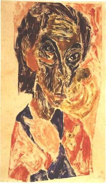 Head of a Sick Man - Ernst Ludwig Kirchner, 1917