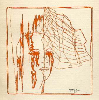 A Girl Head Behind Spider Web - Toyen, 1934